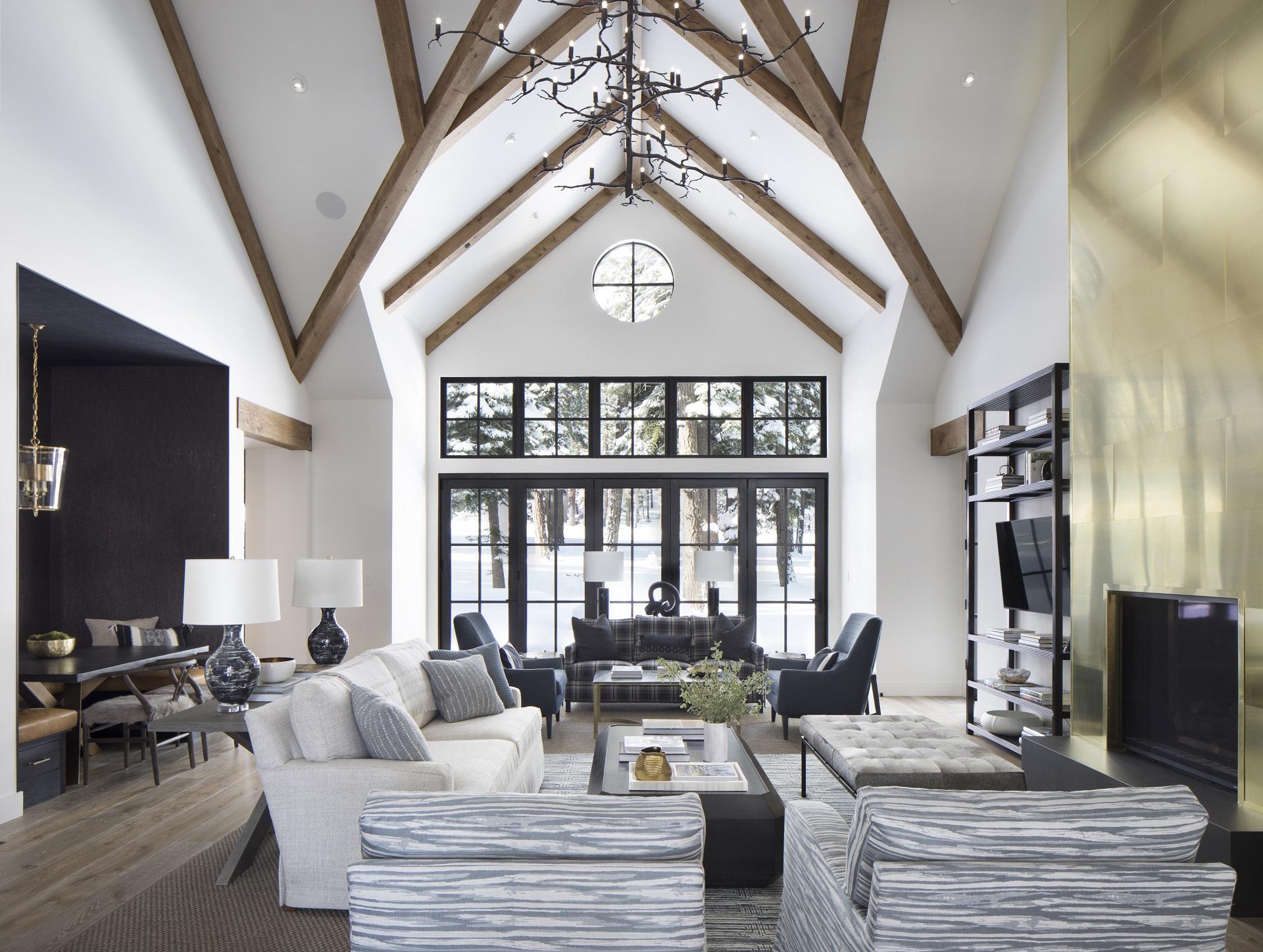 Grey upholstered sofa at ski home living room