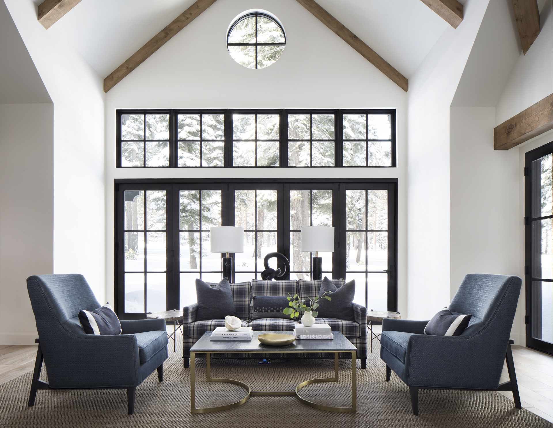 Dark lounge shairs and flannel sofa living room ski home