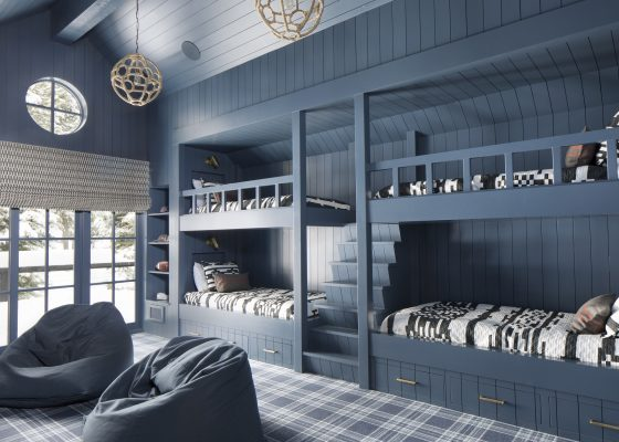 Custom black and white patterned bunk bed bedding
