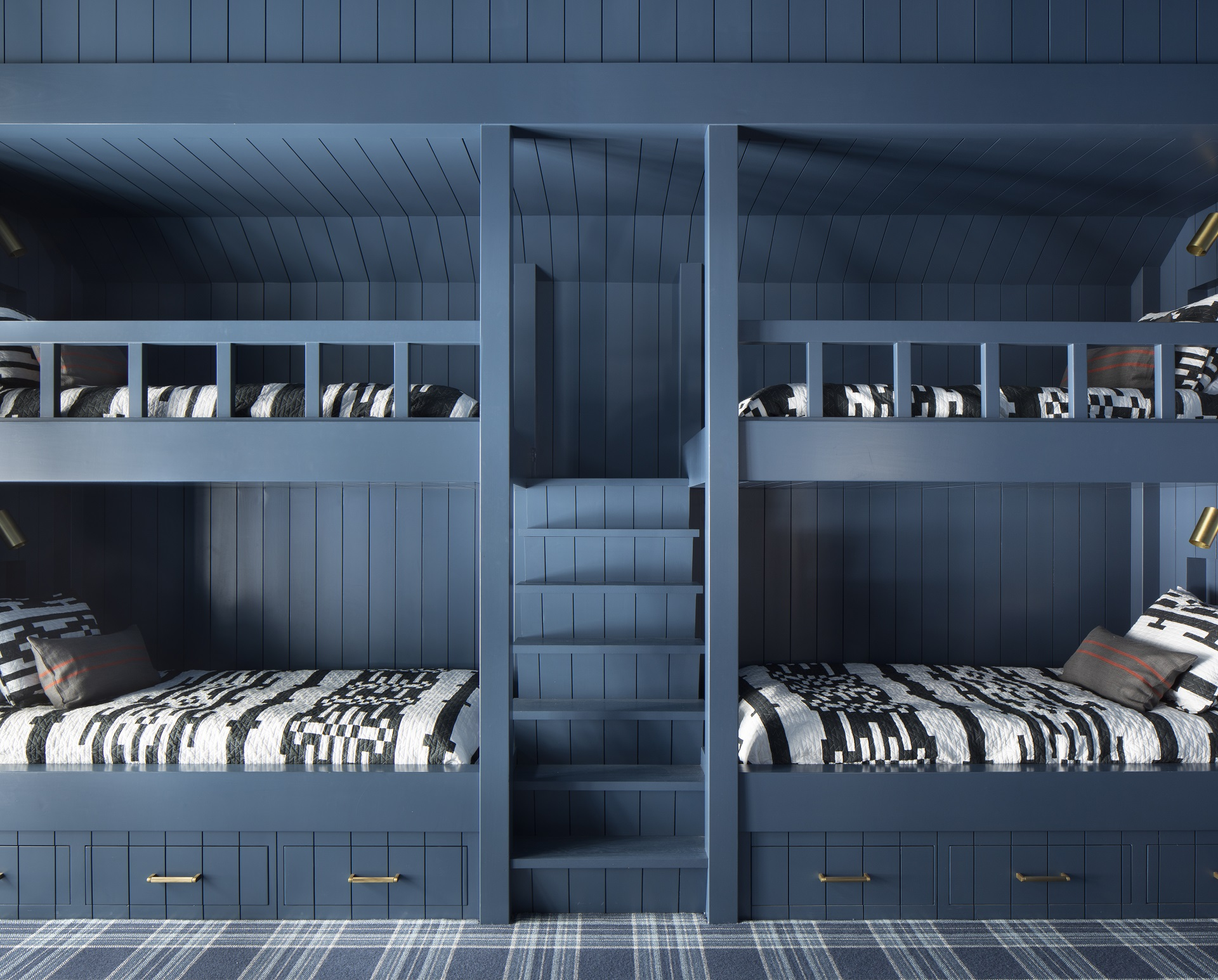 Teal children's bunk beds with black and white print custom bedding