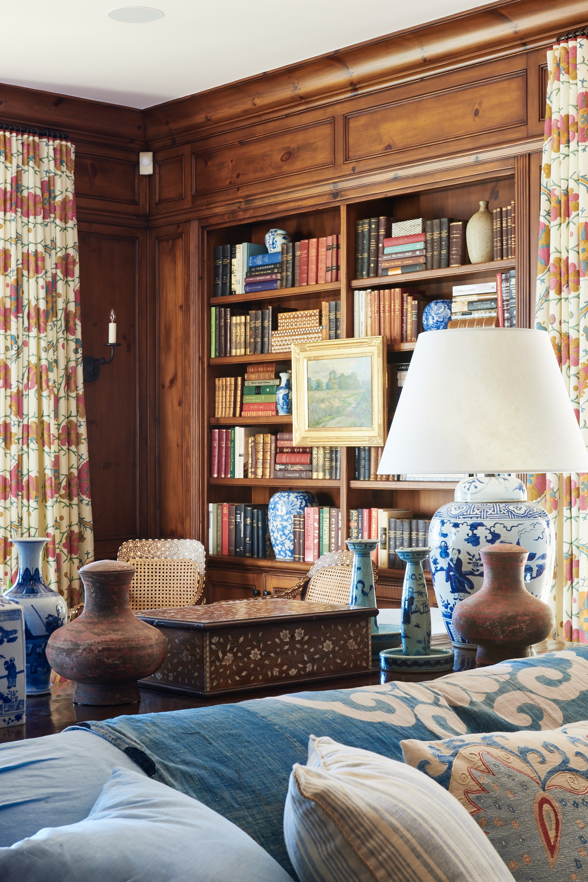 Patterned drapery in library