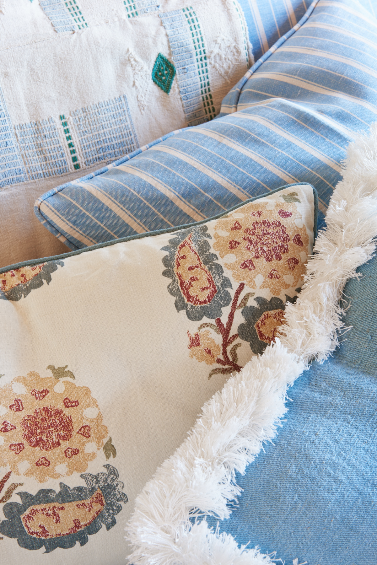 Blue and white spanish patterned shams