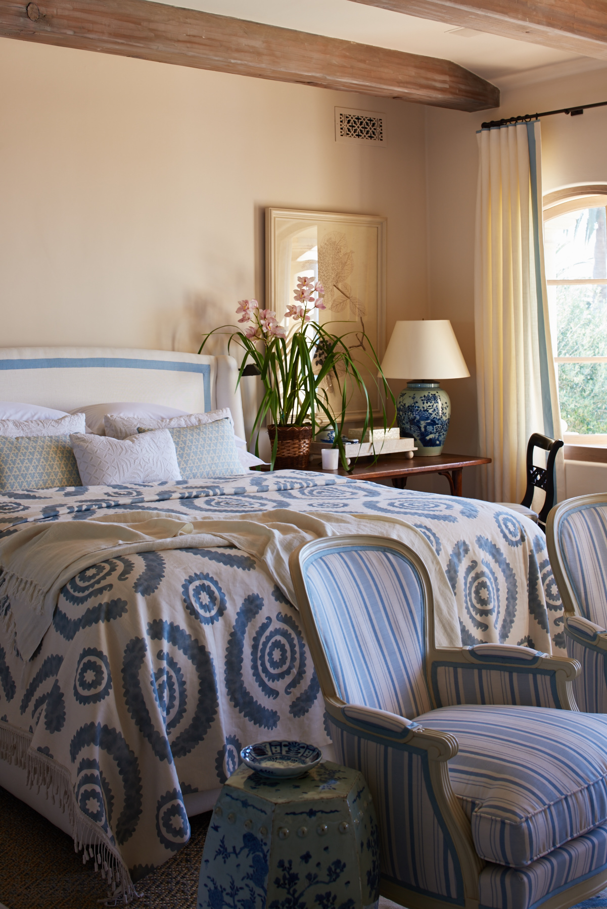 Blue circle pattern bedding and striped sitting chairs