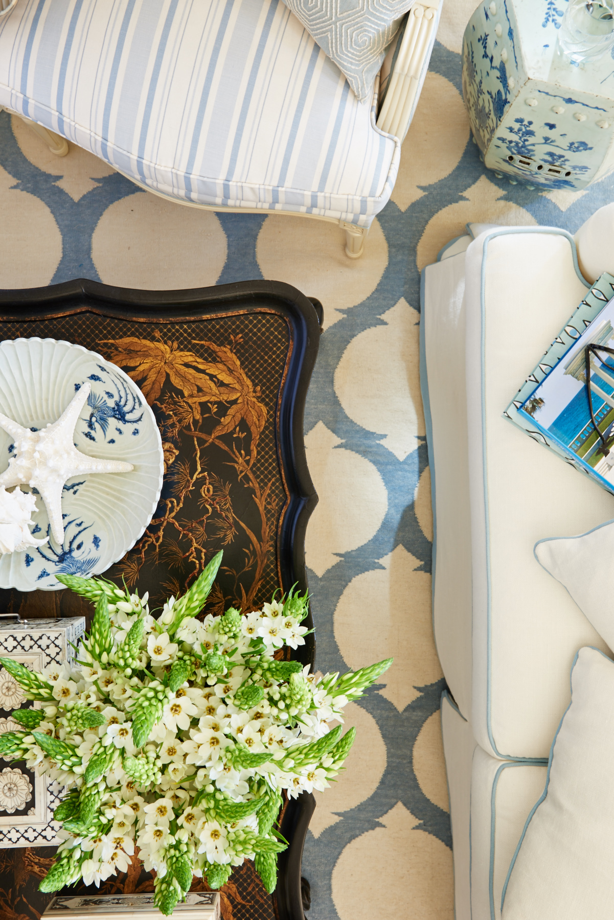 Cream and blue patterns
