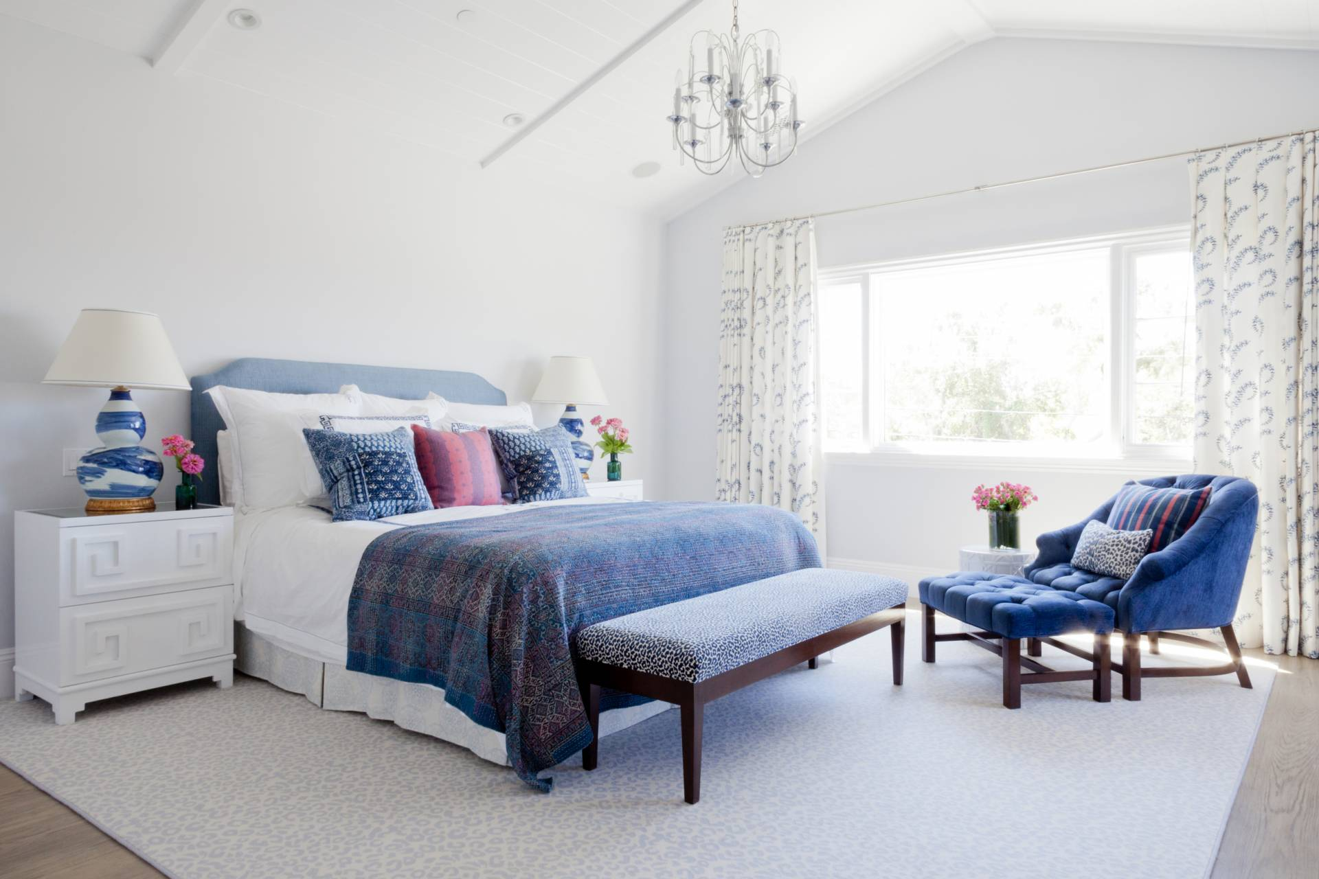 Custom white and blue bedding and drapery