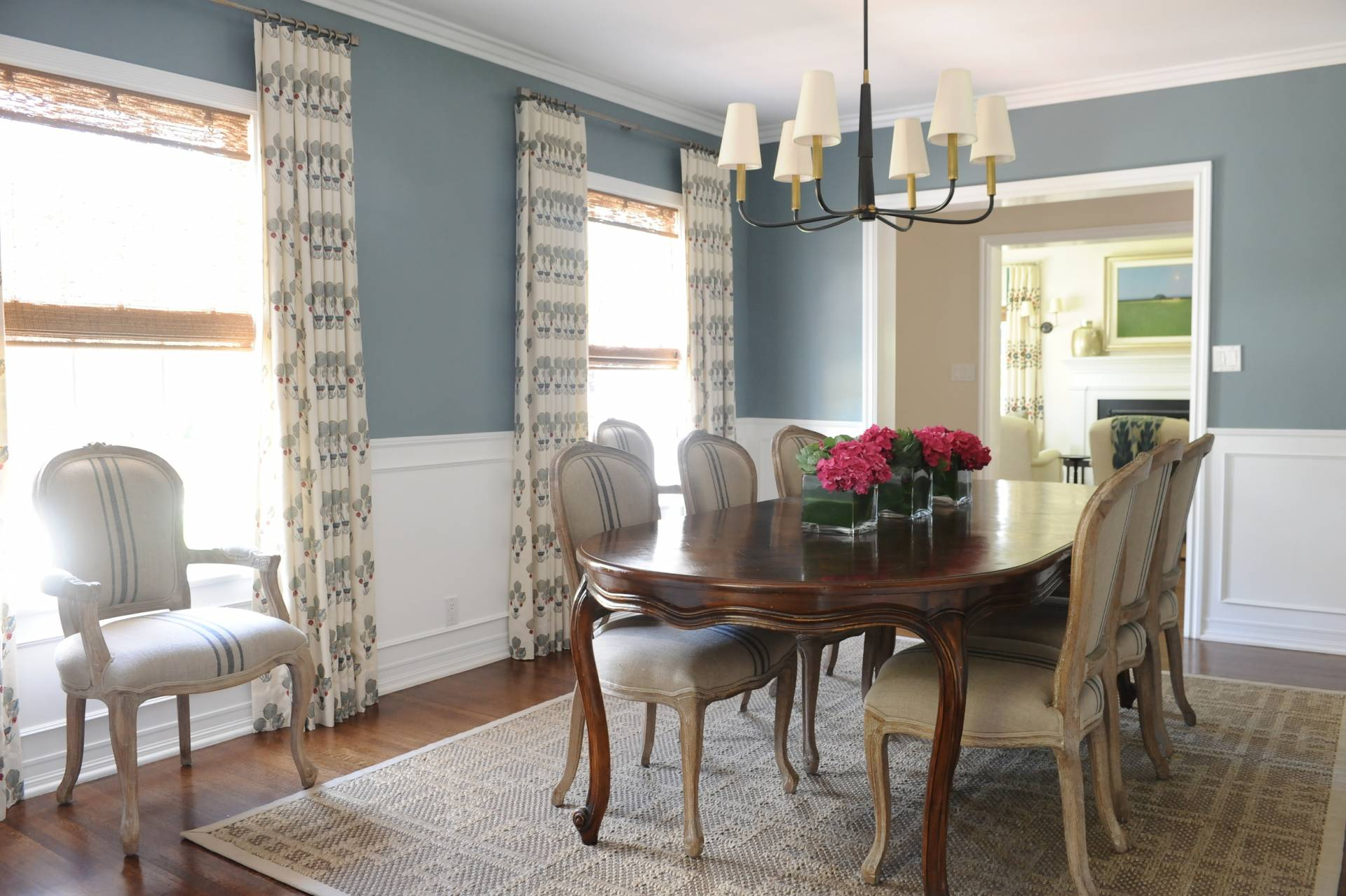 Ripplefold drapery and iron rods and rings in dining room