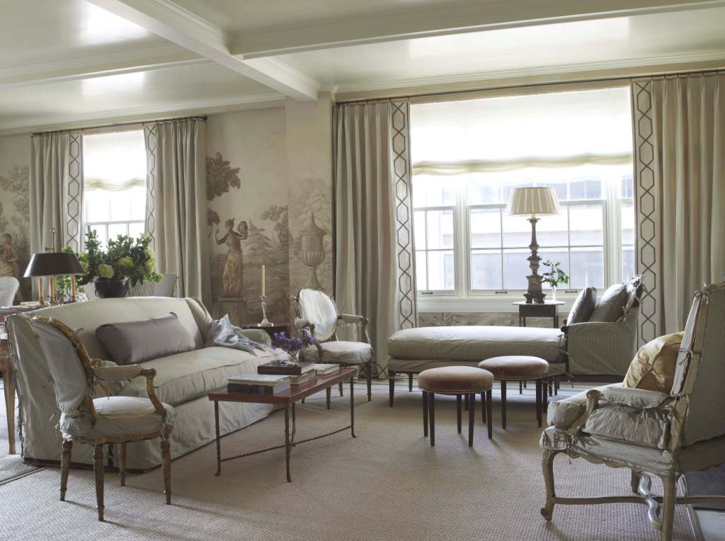 City living room with stripe slipcovers