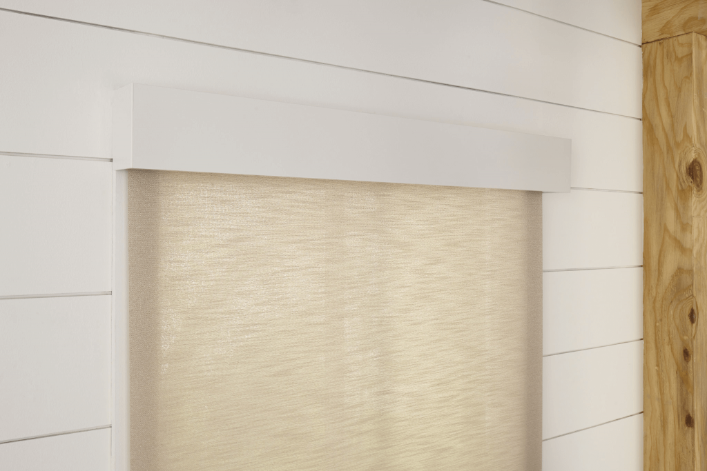 Textured roller shade with valance