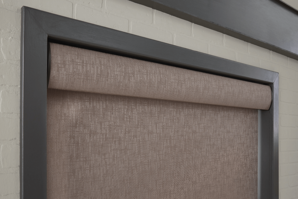 Brown textured roller shade with textured valance