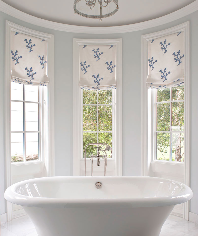 Catherine Miller and Valley Drapery and Upholstery featured in Traditional Home Bathroom Roman Shades