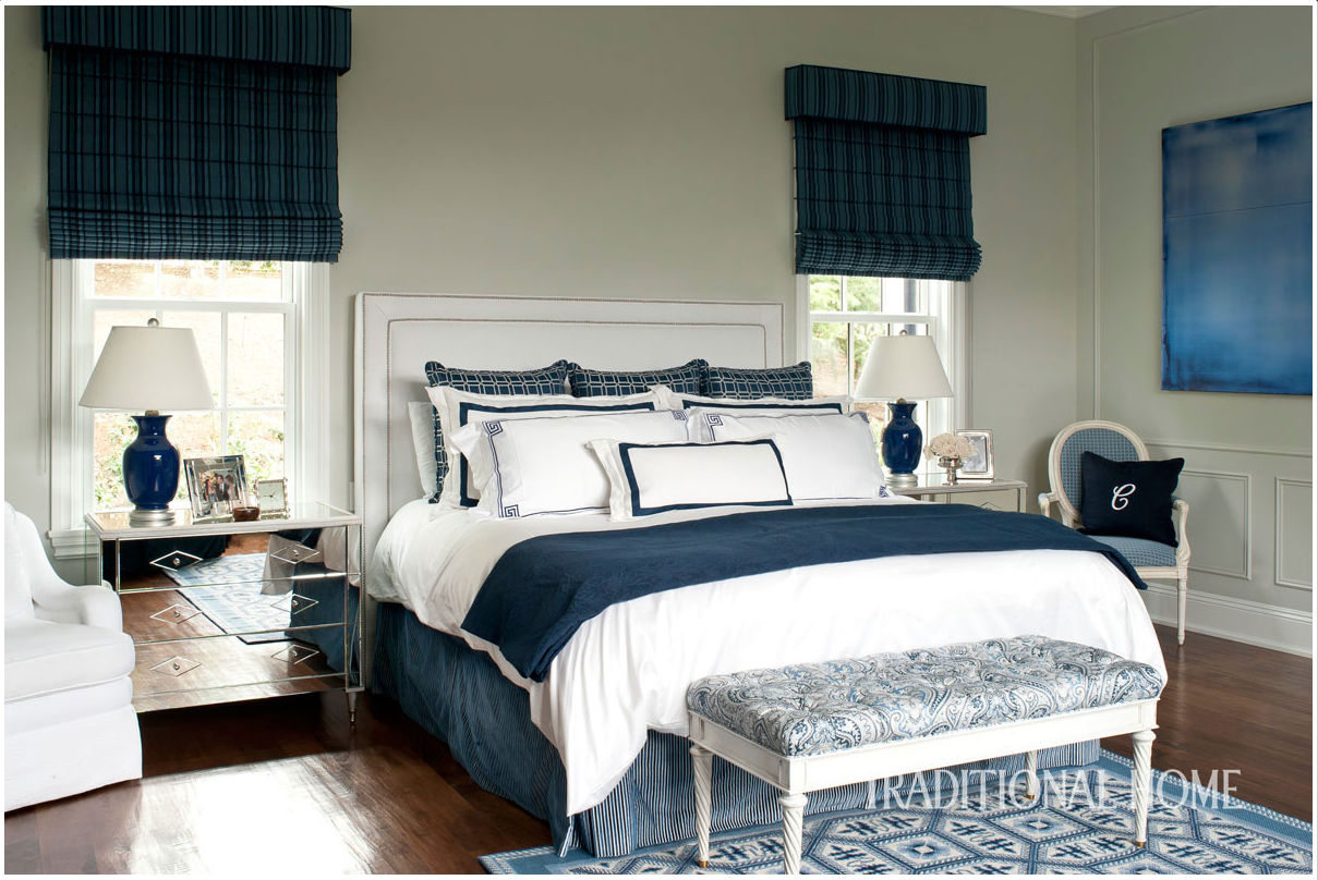Catherine Miller and Valley Drapery and Upholstery featured in Traditional Home Bedroom with Roman Shades