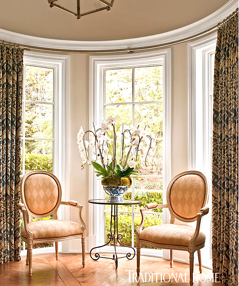 Catherine Miller and Valley Drapery and Upholstery featured in Traditional Home Sitting Room with Pleated Drapes on Iron Rods and Rings