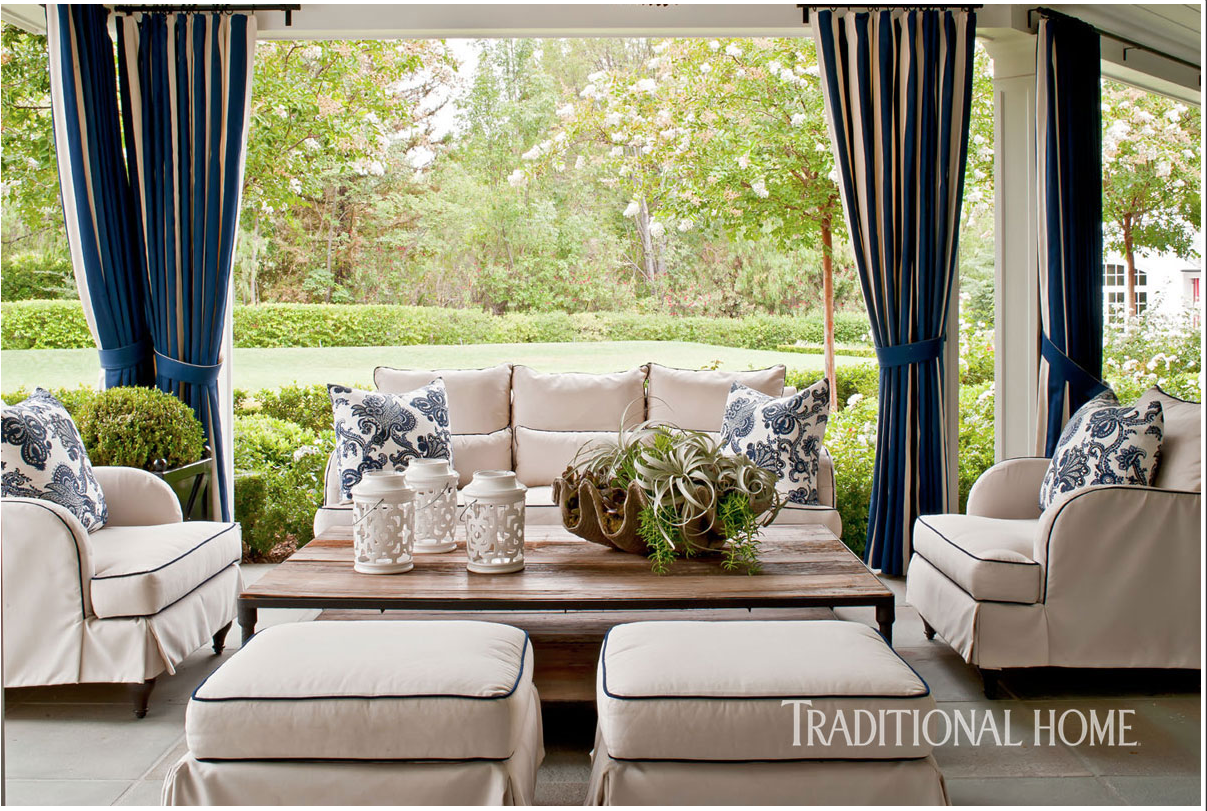Catherine Miller and Valley Drapery and Upholstery featured in Traditional Home Outdoor upholstered sofa, lounge chairs, and ottomans