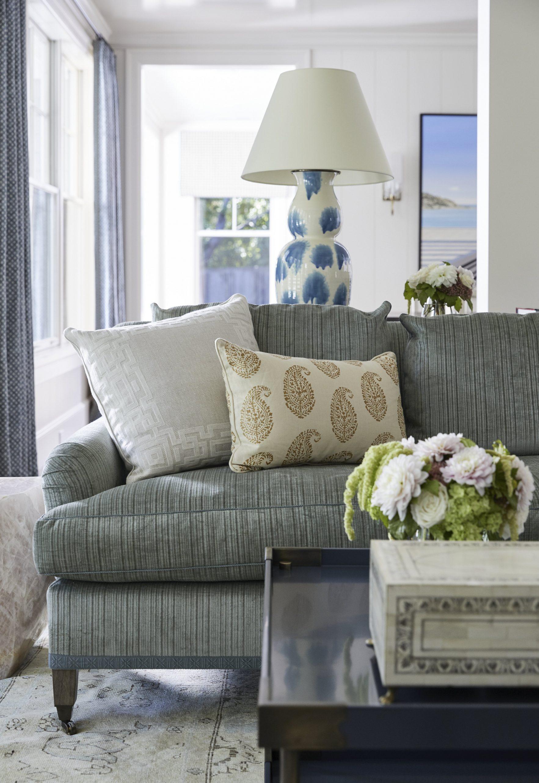 Vertical striped gray sofa
