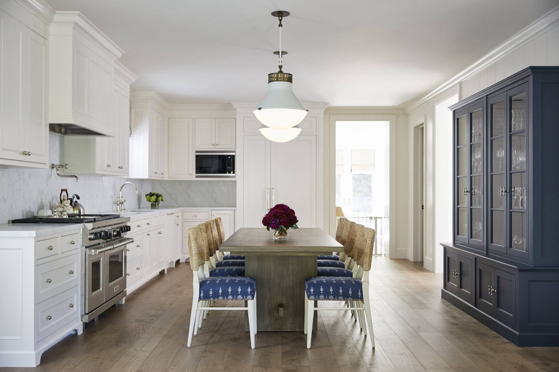 Upholstered kitchen chairs with rattan backs