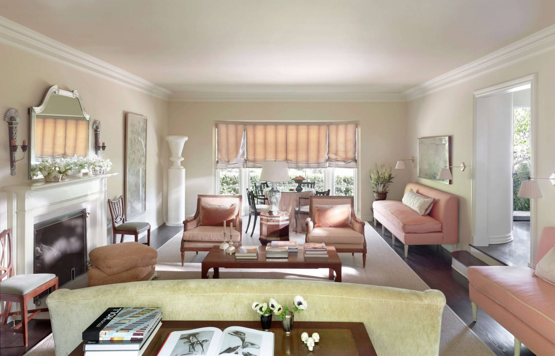 Living room with roman shades