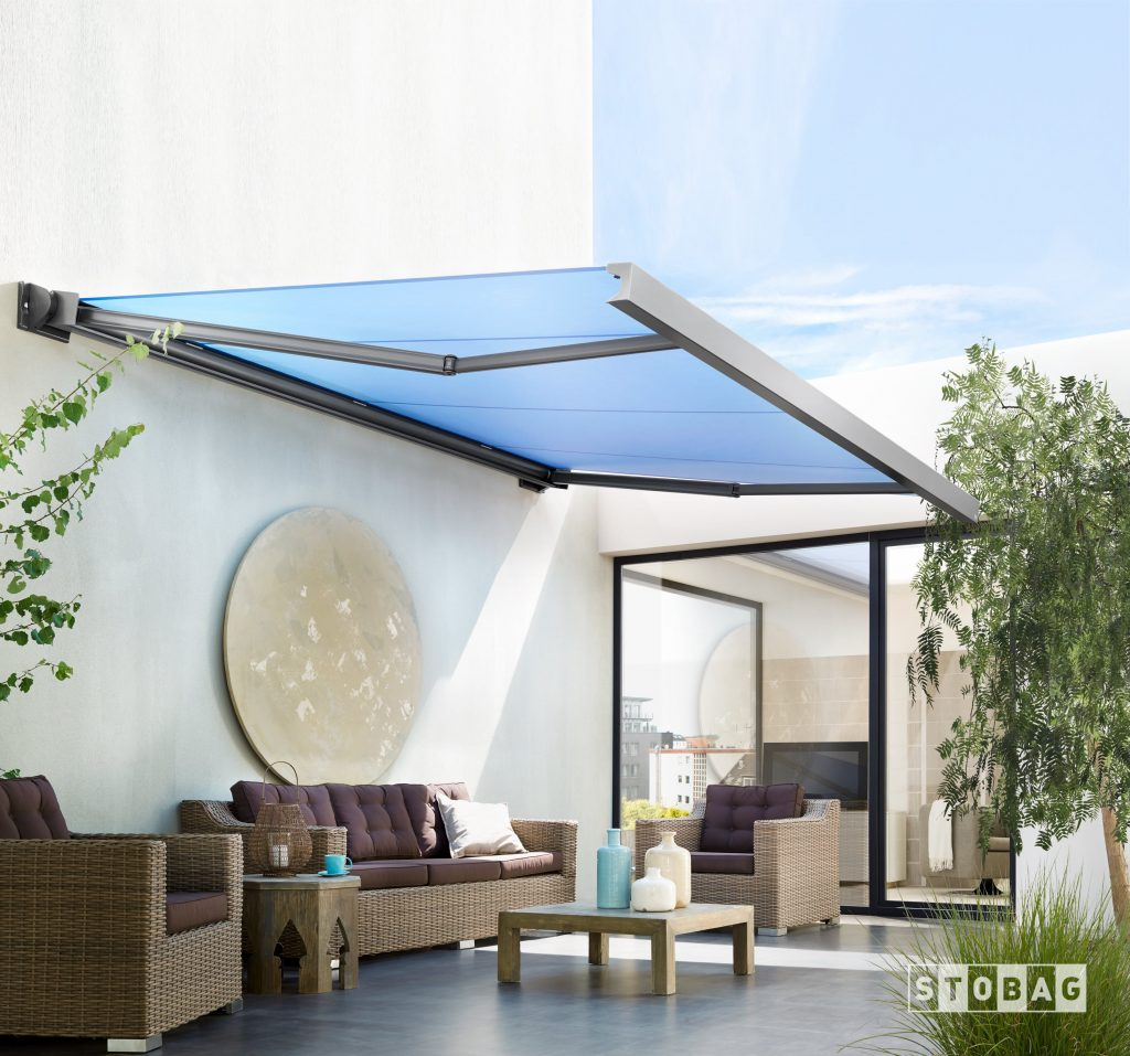 Clean square motorized awning