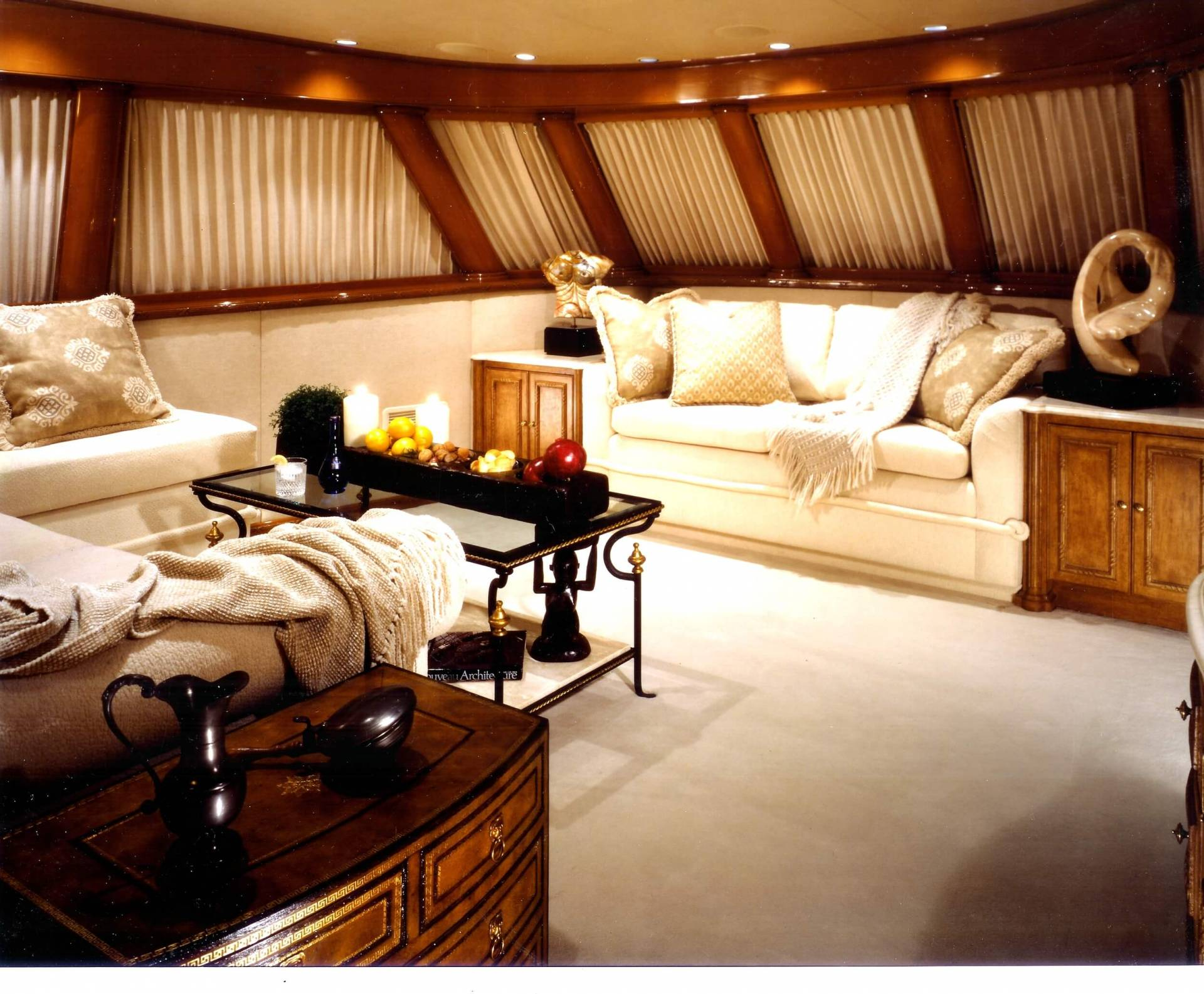 Custom yacht den with shades and upholstery