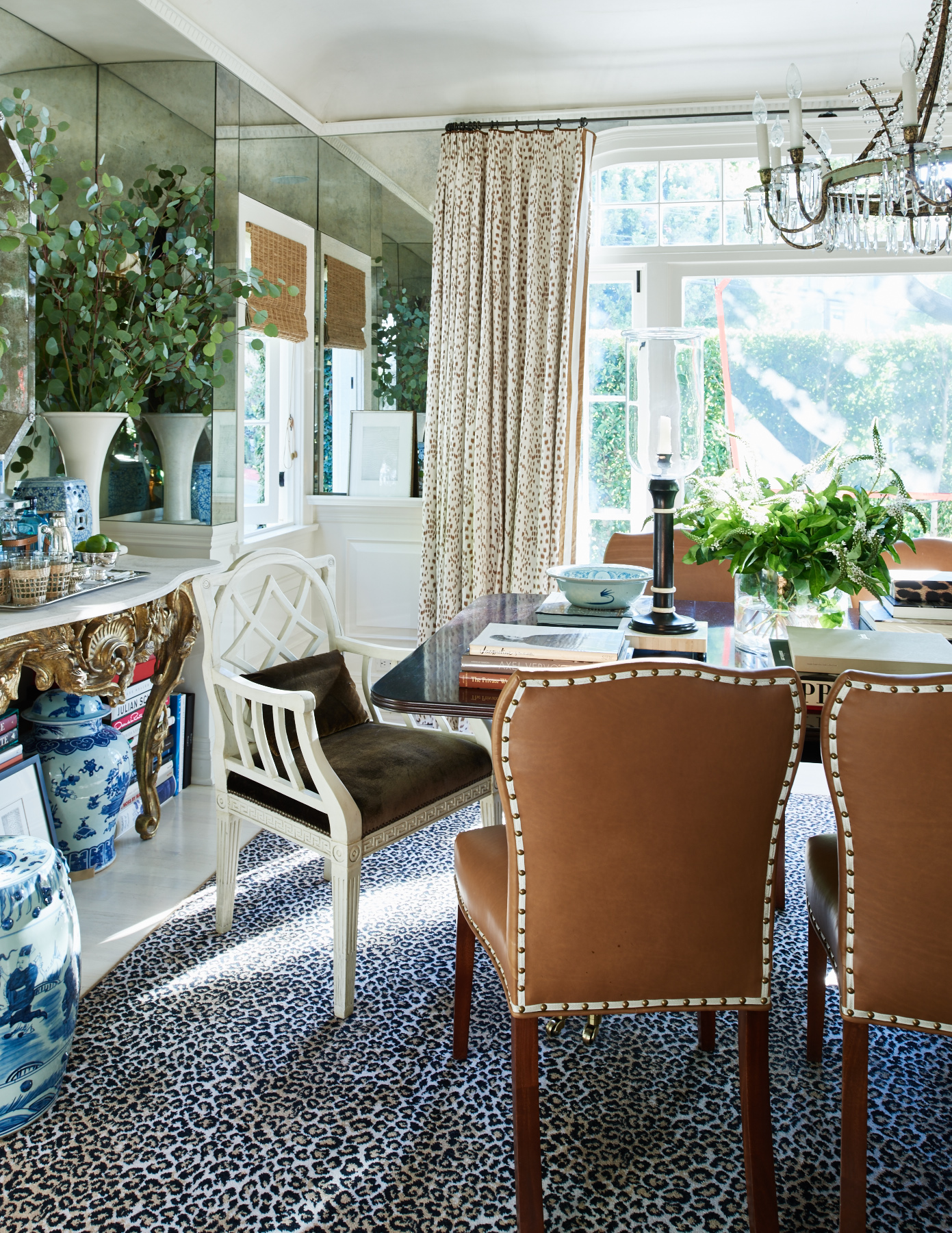 Upholstered dining chairs with rivet detail