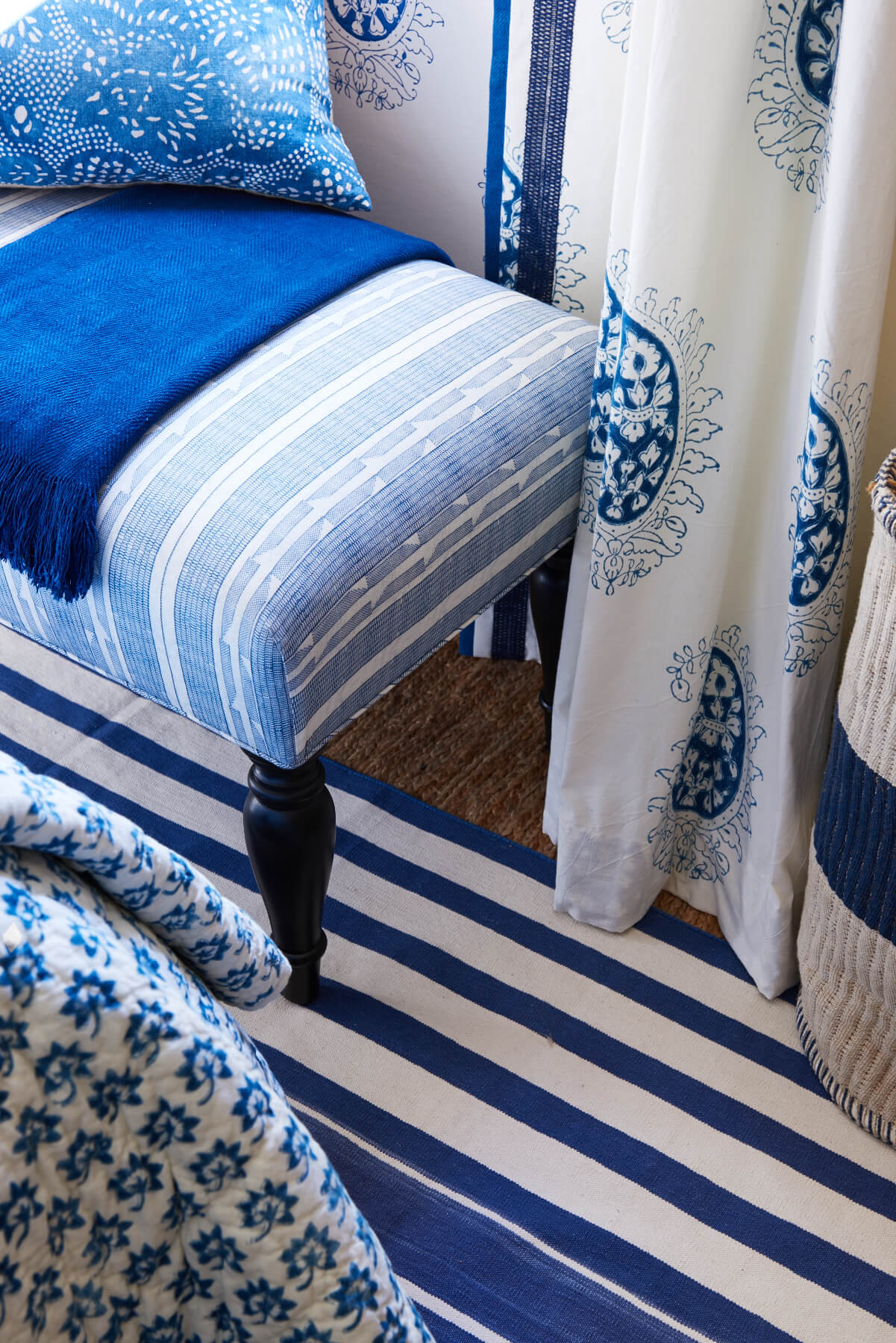 Blue and White spanish pattern drapery and chairs