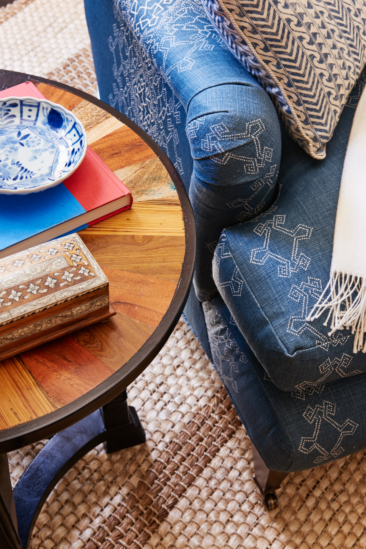 Rich blue silk upholstered armchair