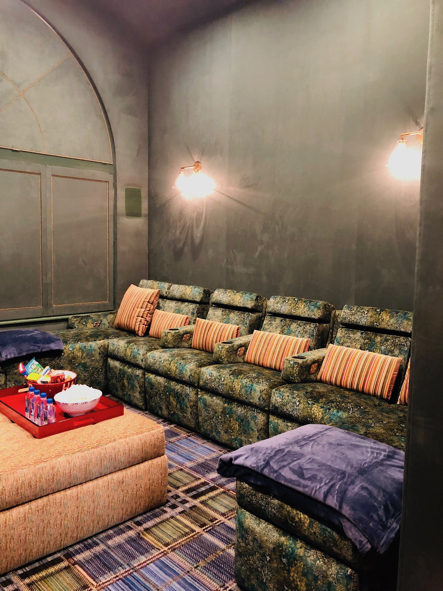 Custom home theater upholstery and curtains