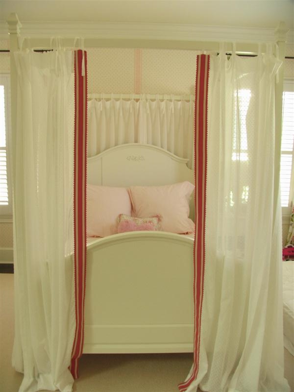 White bed curtains with contrast lead edge