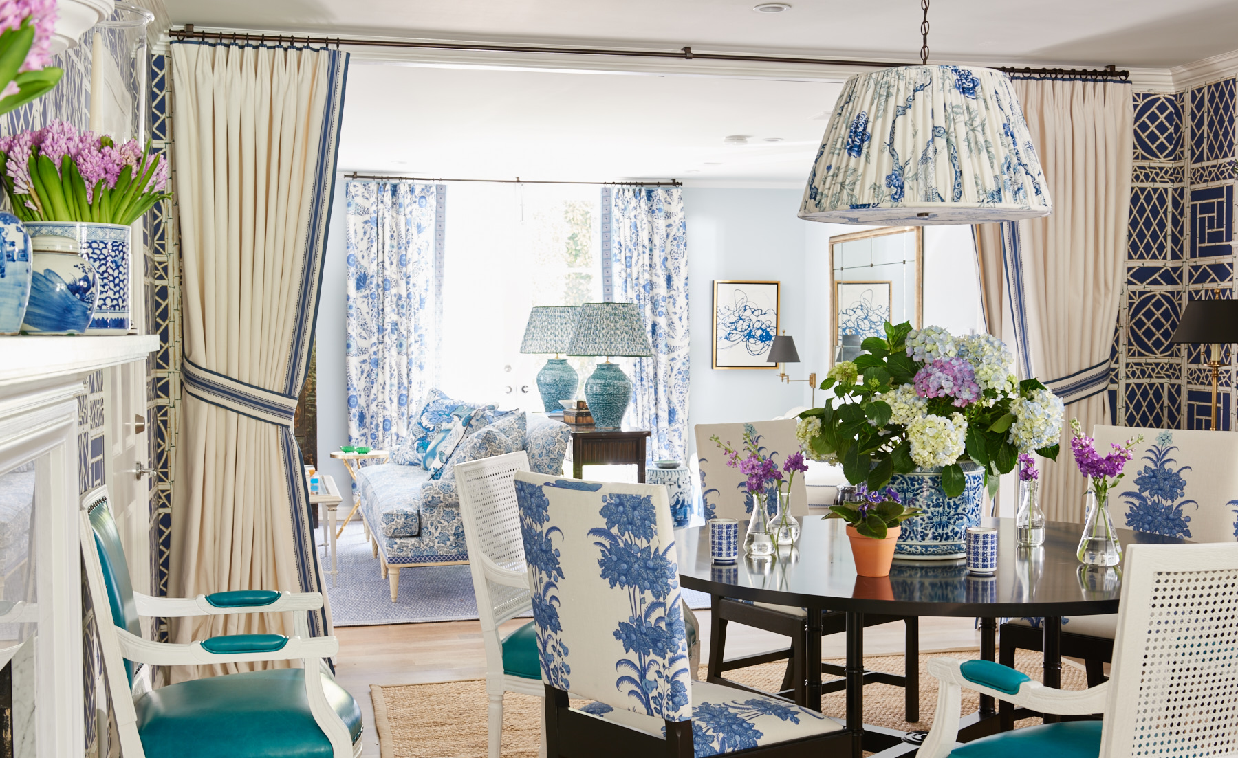 Floral blue upholstered dining chairs