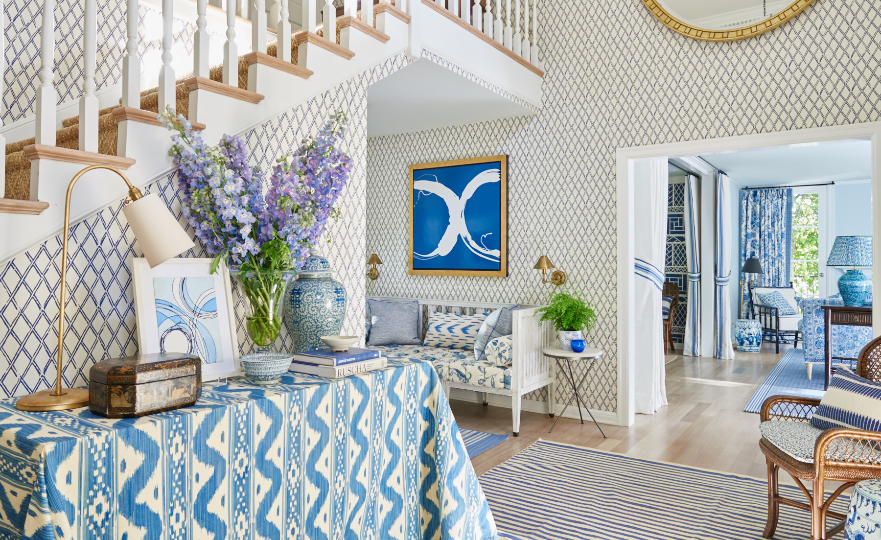 Custom blue print tablecloth