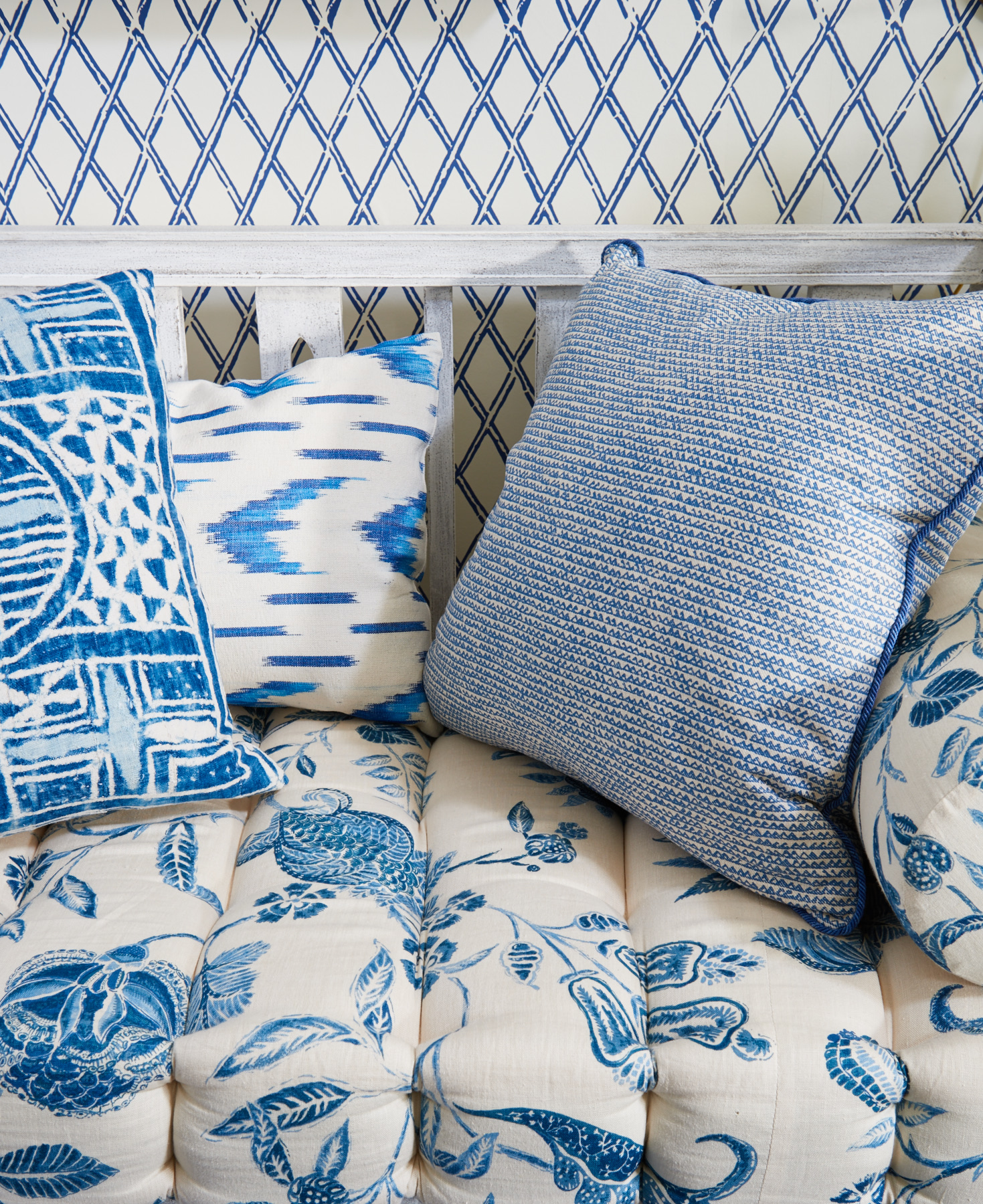 Quilted blue textiles