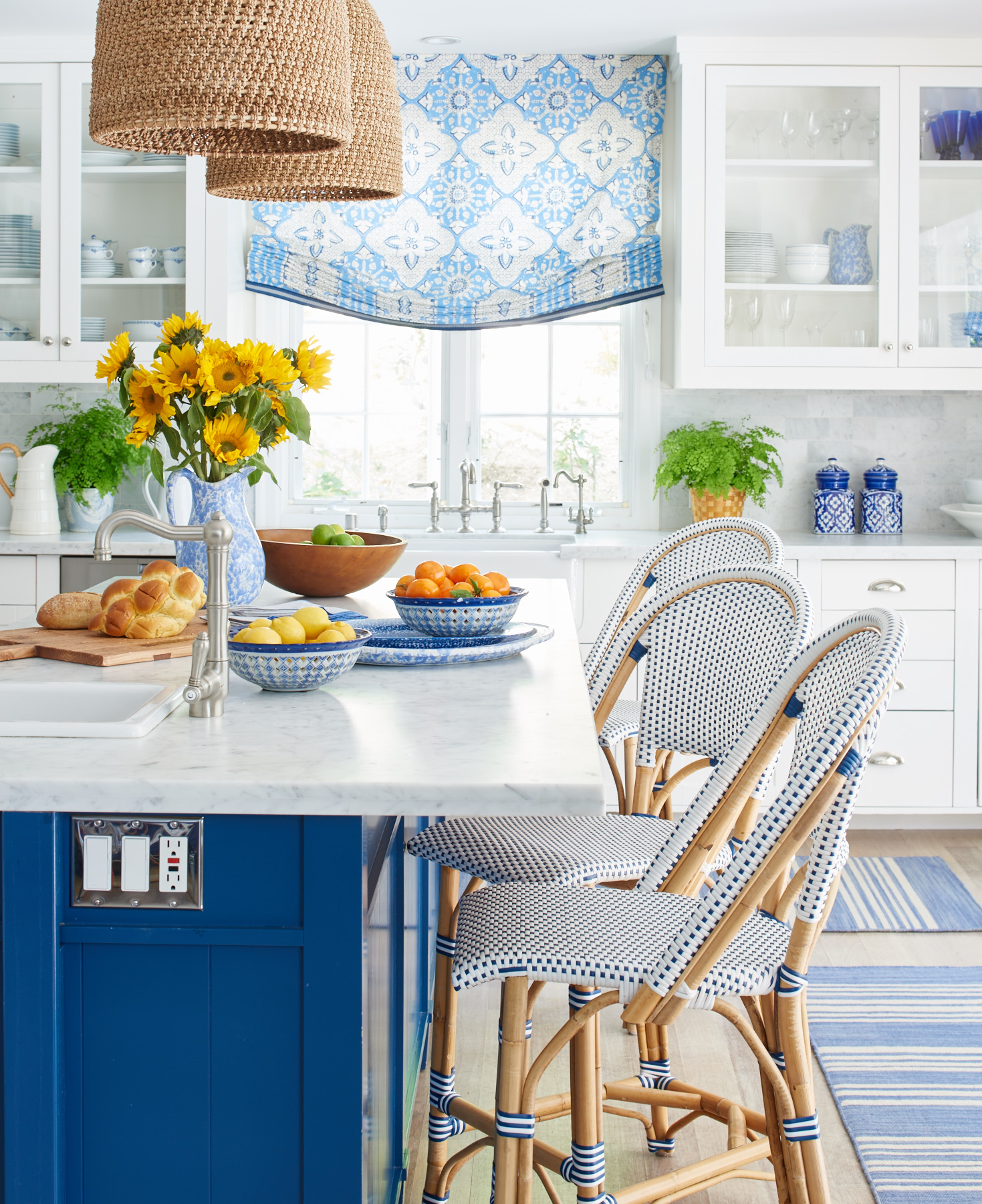 Upholstered kitchen stools and roman shade