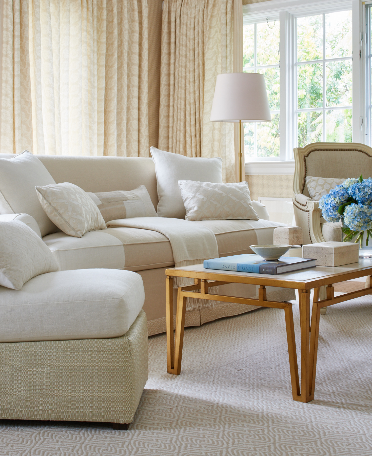 Cream curved sofa