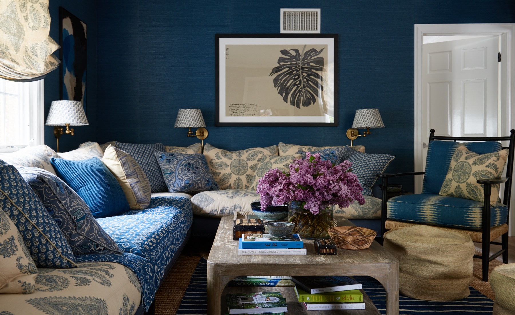 Built in blue sectional with shams