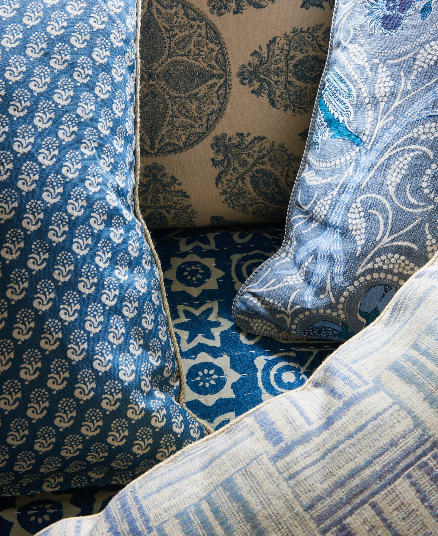 Various patterned and textured shams