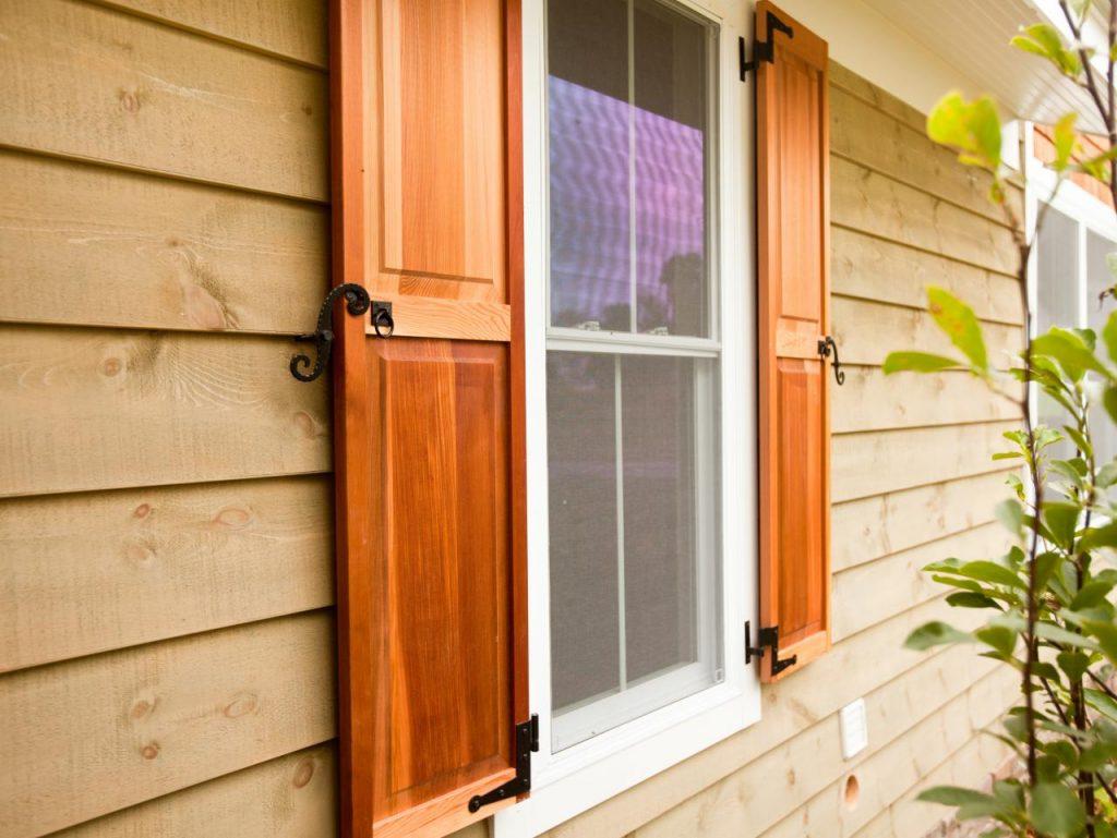 Wood exterior shutter panel