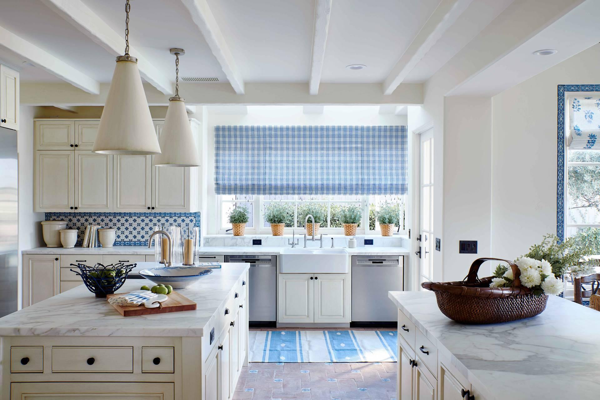 Kitchen Blue and White Checkered Roman Shade