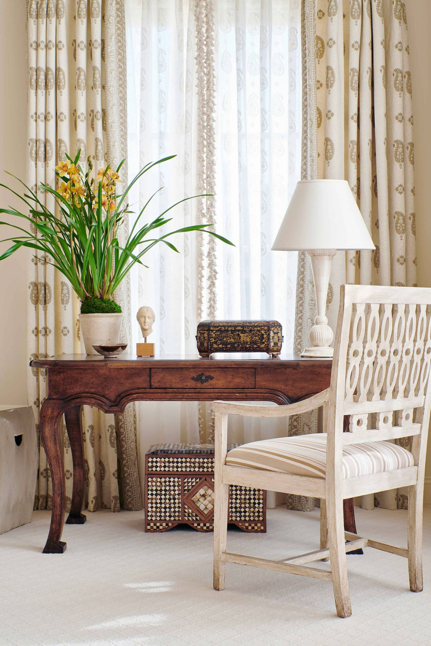 Overdrapes and Sheers in Front of Desk