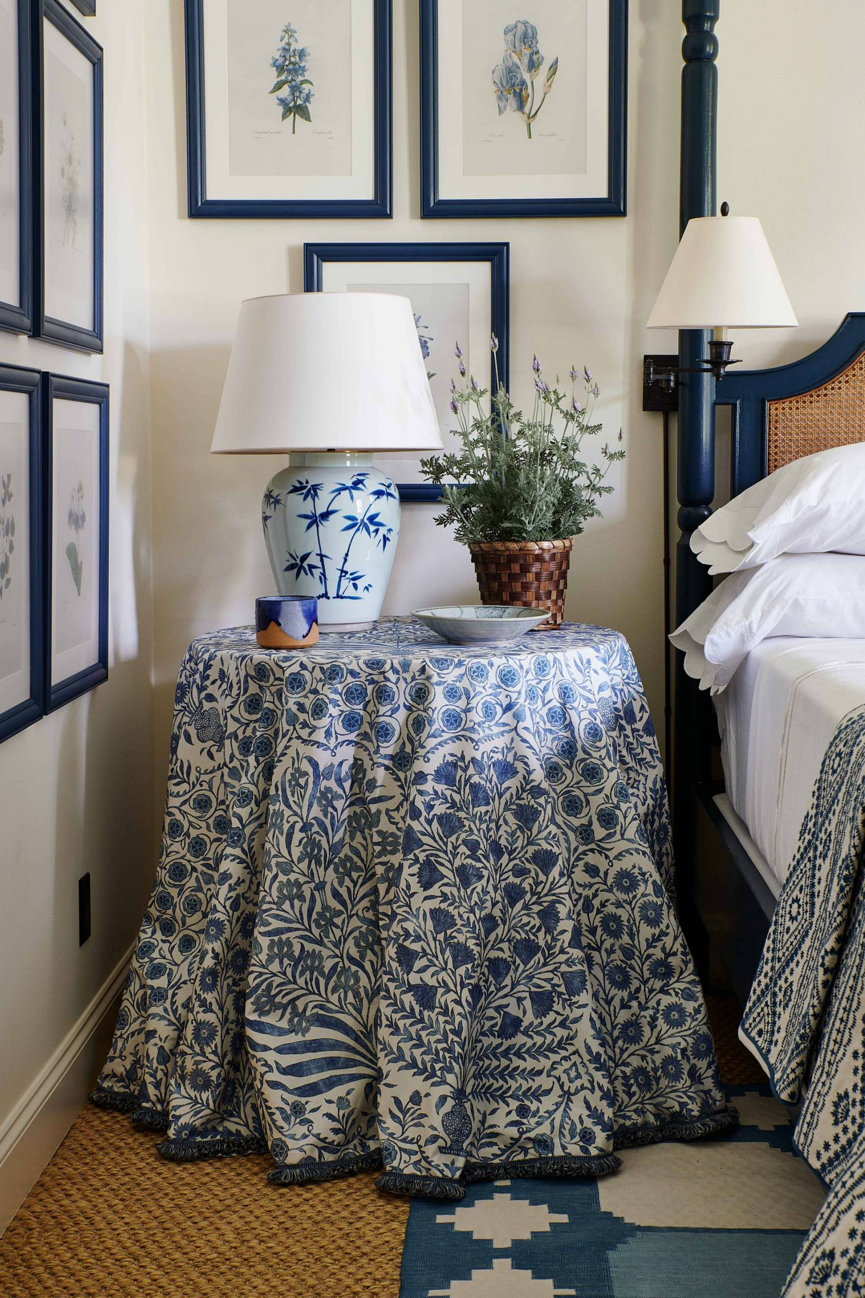 Bedside Table Skirt with Matching Lamp