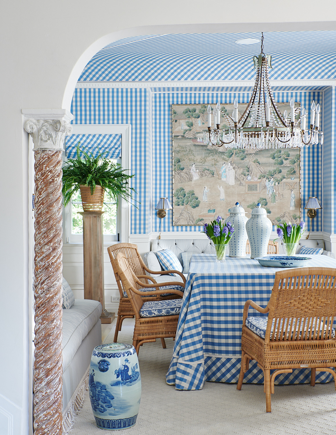 Blue Checkered Dining Table Cloth