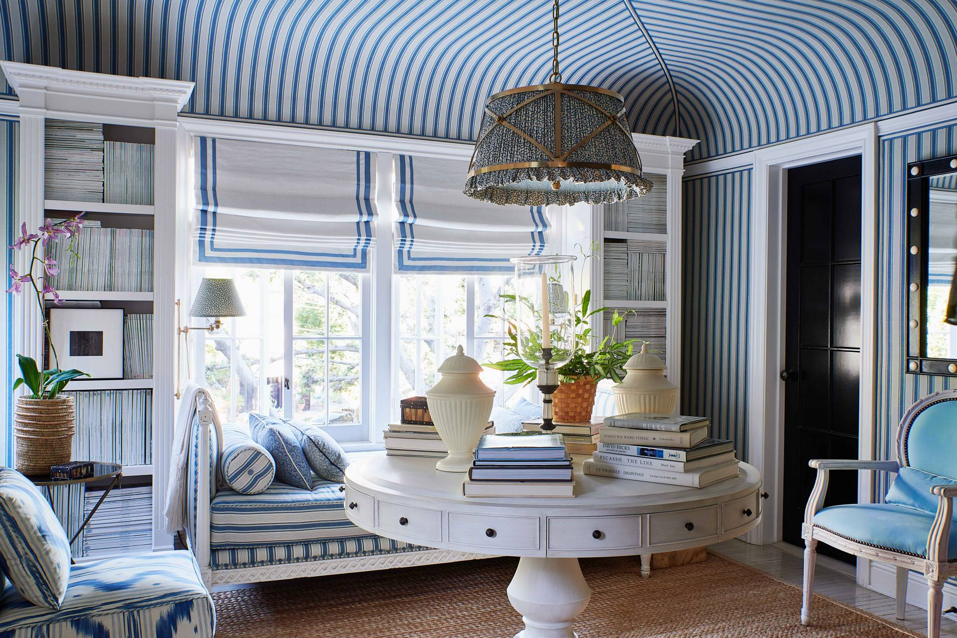 Striped Blue Roman Shades