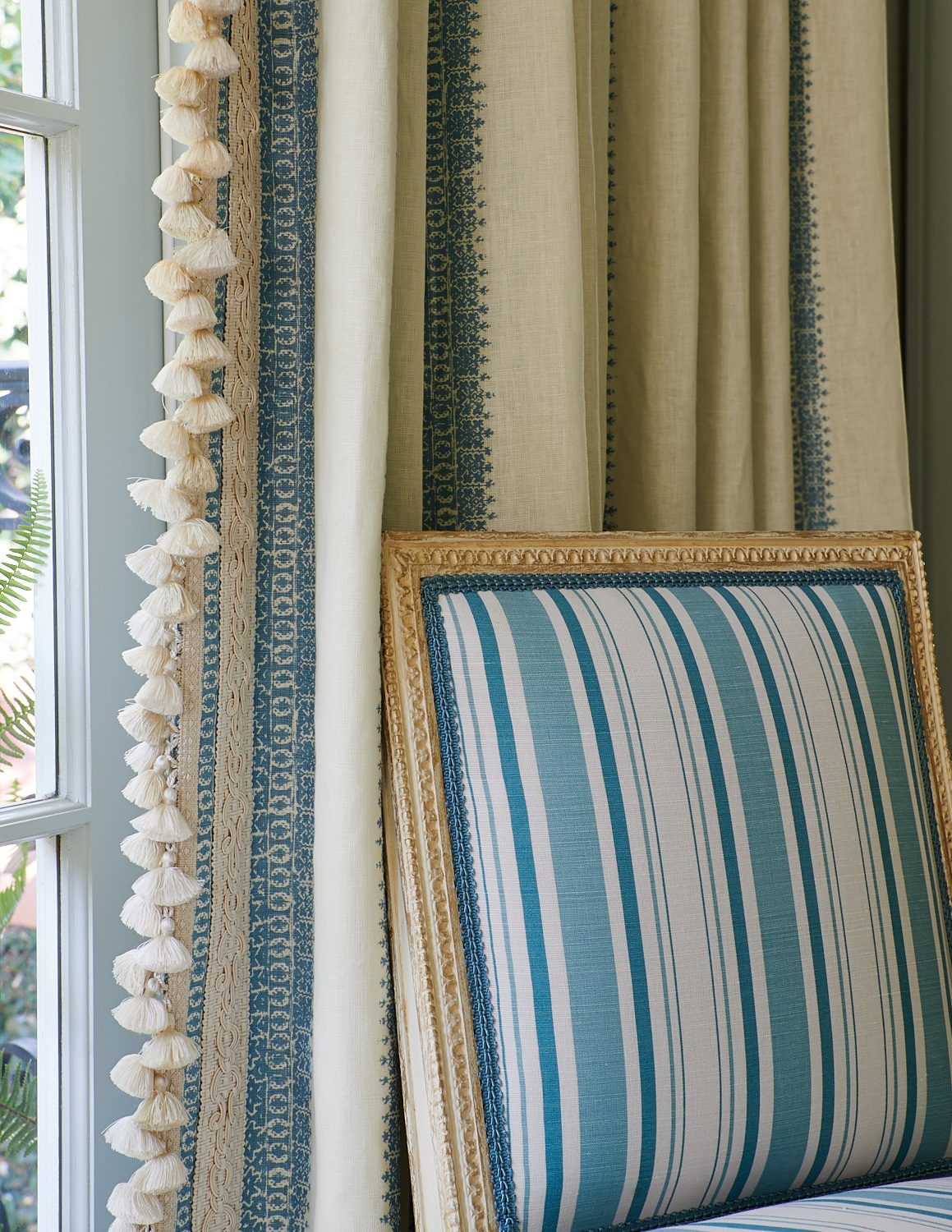 Striped Chair and Drapery with Trim