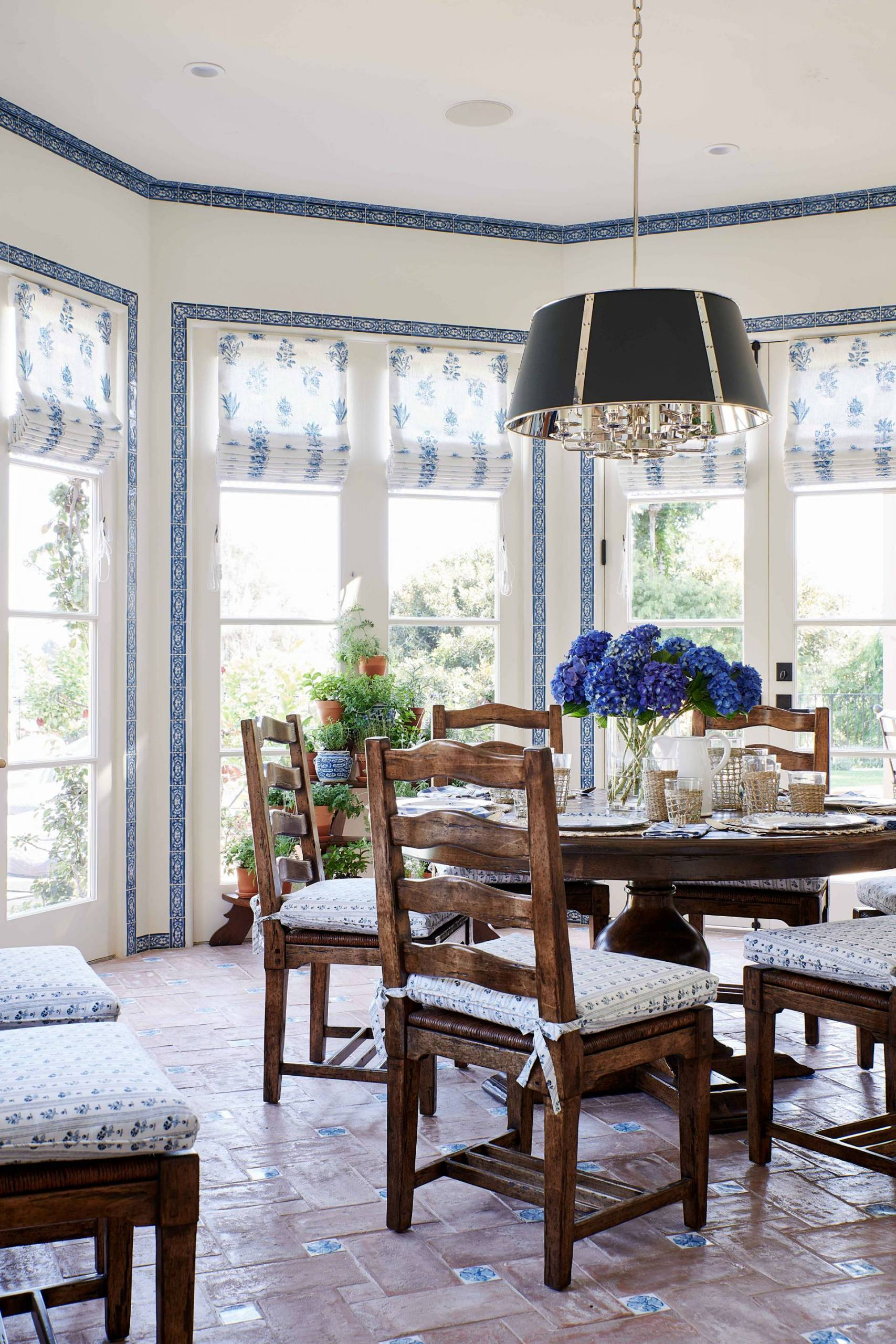 Breakfast Table Upholstered Chairs and Roman Shades
