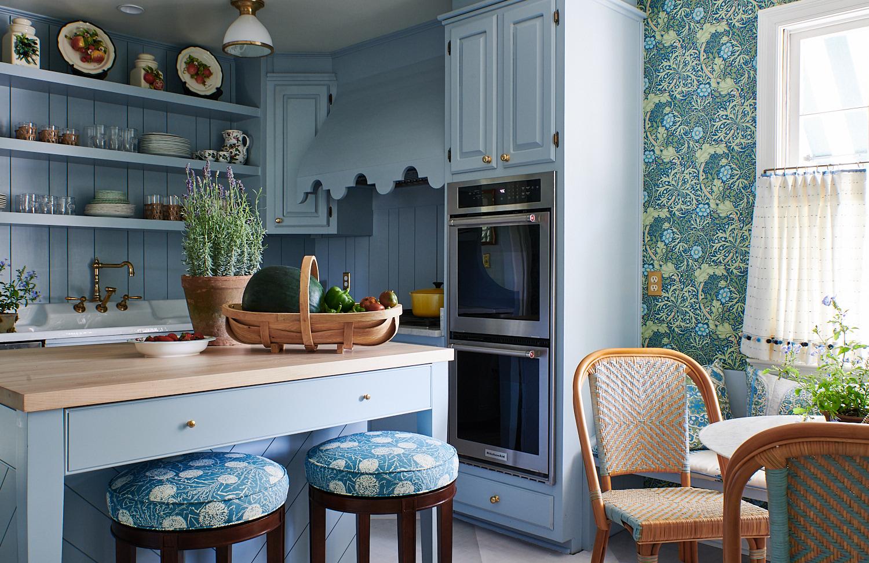 Upholstered round barstools, pleated kitchen drapes