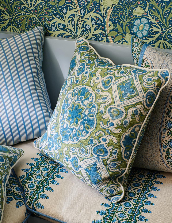 Breakfast nook bench cushions, various throw pillows