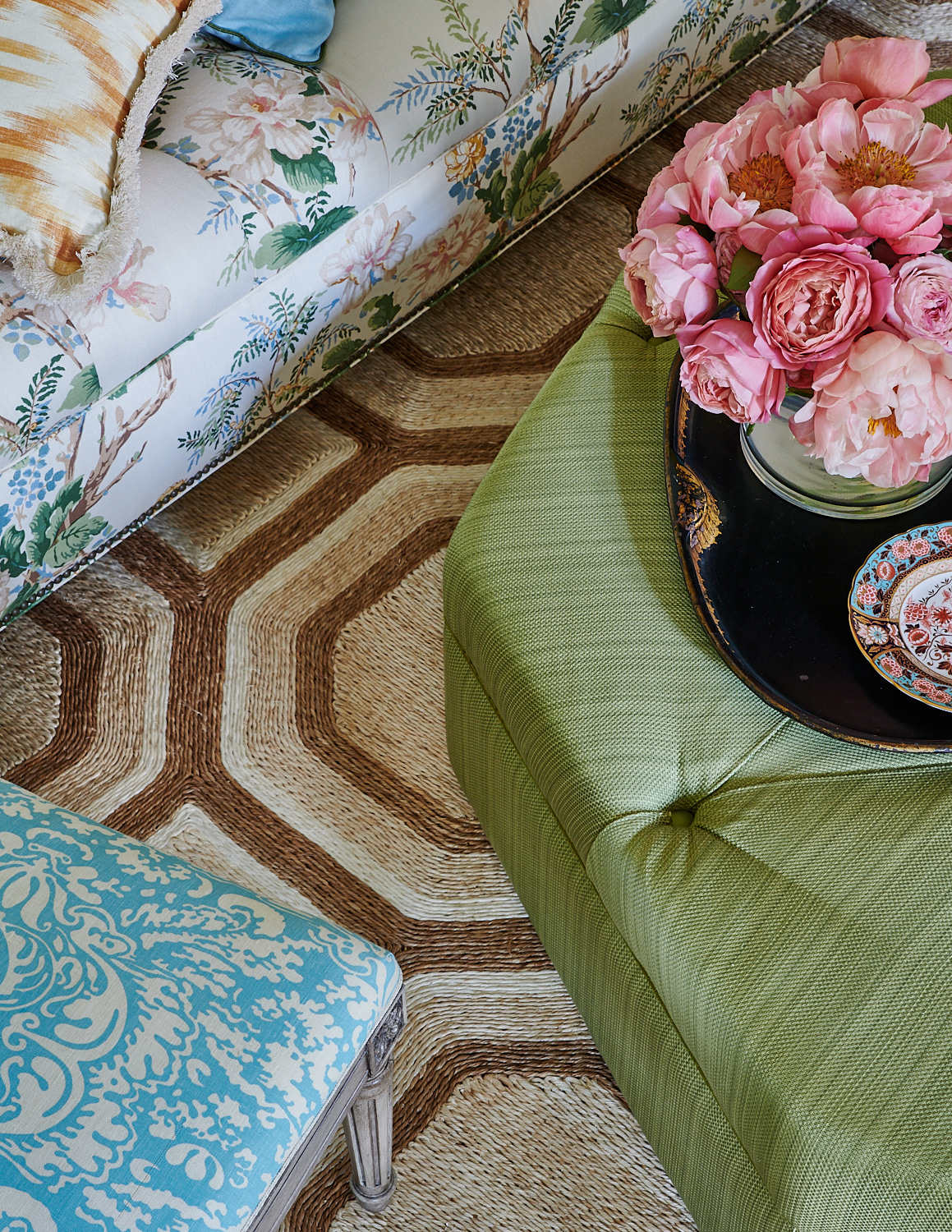 Vertical-striped tufted ottoman