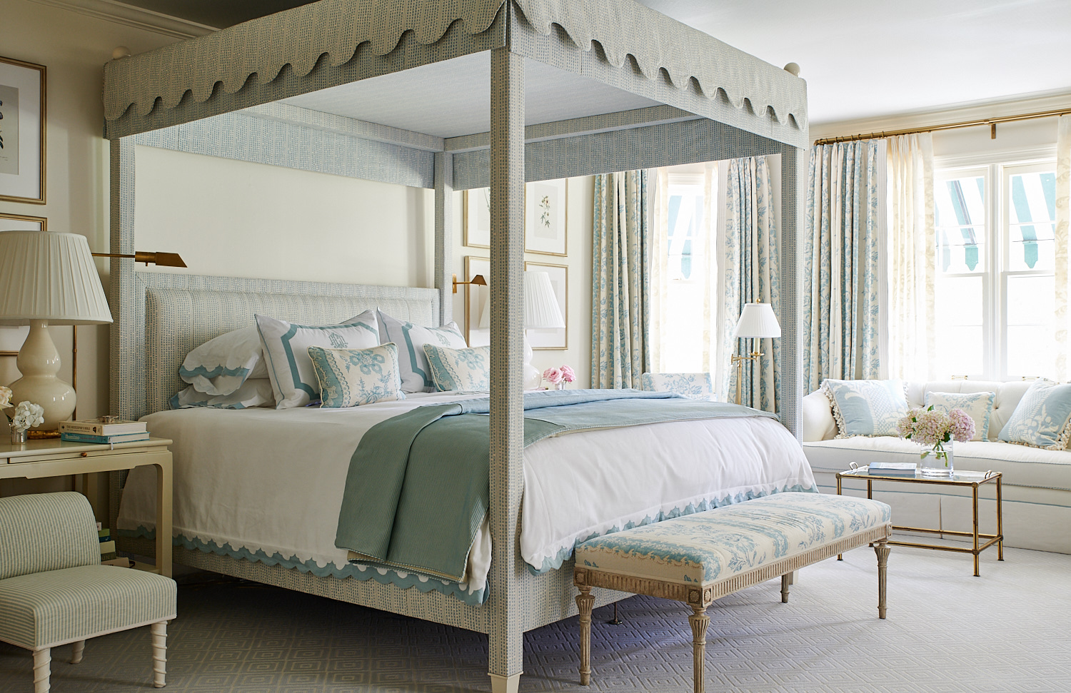 Upholstered bed canopy, shams pillows, headboard, and upholstered bench