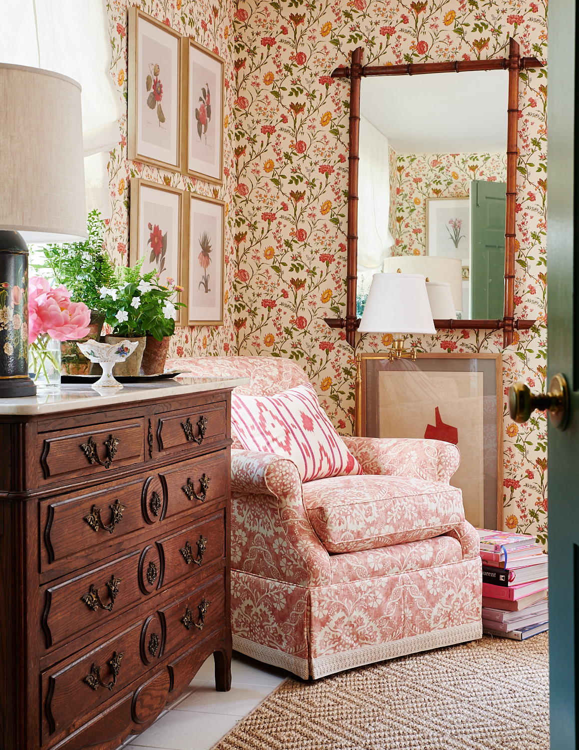 Pink and white upholstered chair with skirt and custom pillow