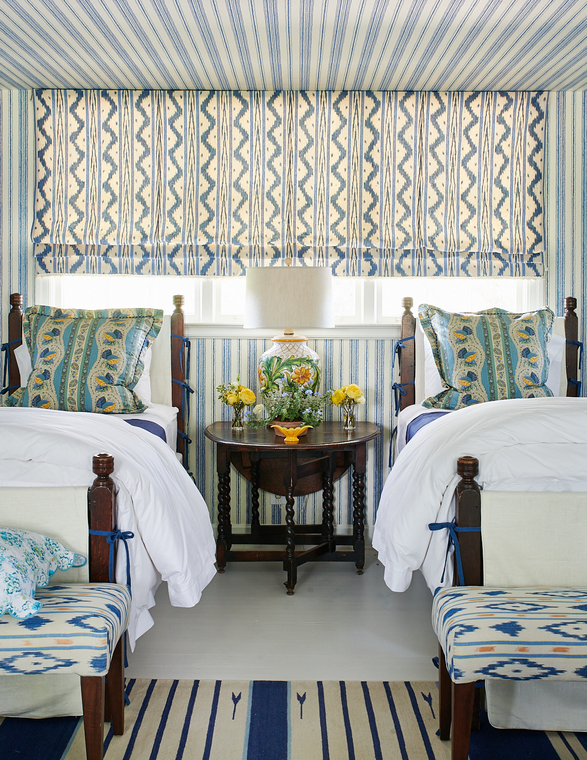 Large roman shades, twin beds with shams pillows, and matching upholstered benches