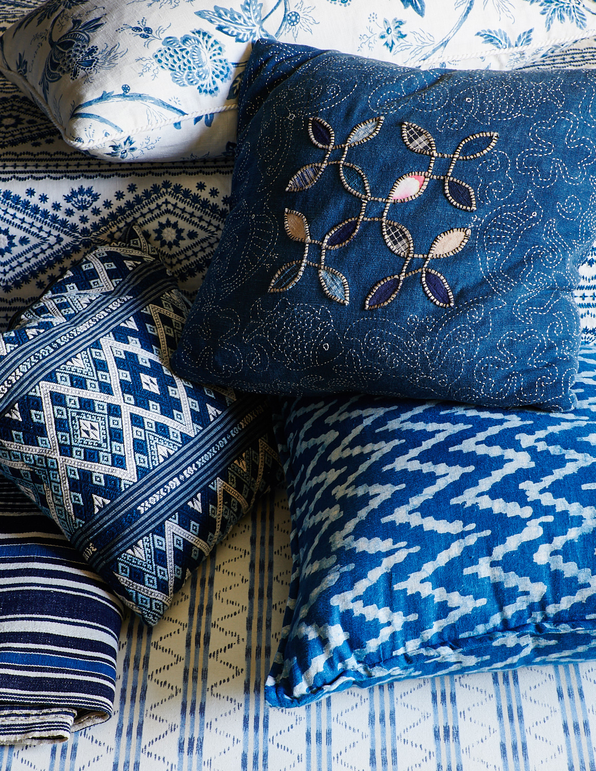 Various-patterned throw pillows