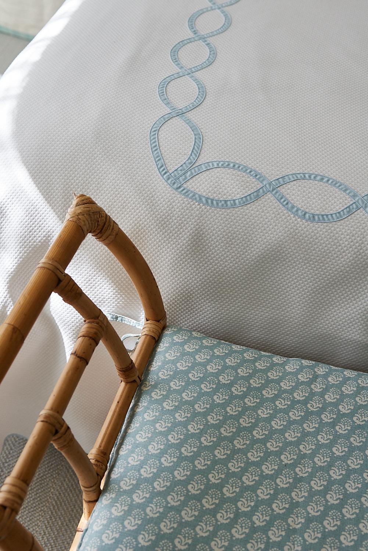 Custom bedding and bamboo bench cushion
